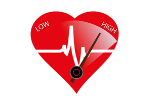 Heart Icon with an arrow leaning towards the high blood pressure side